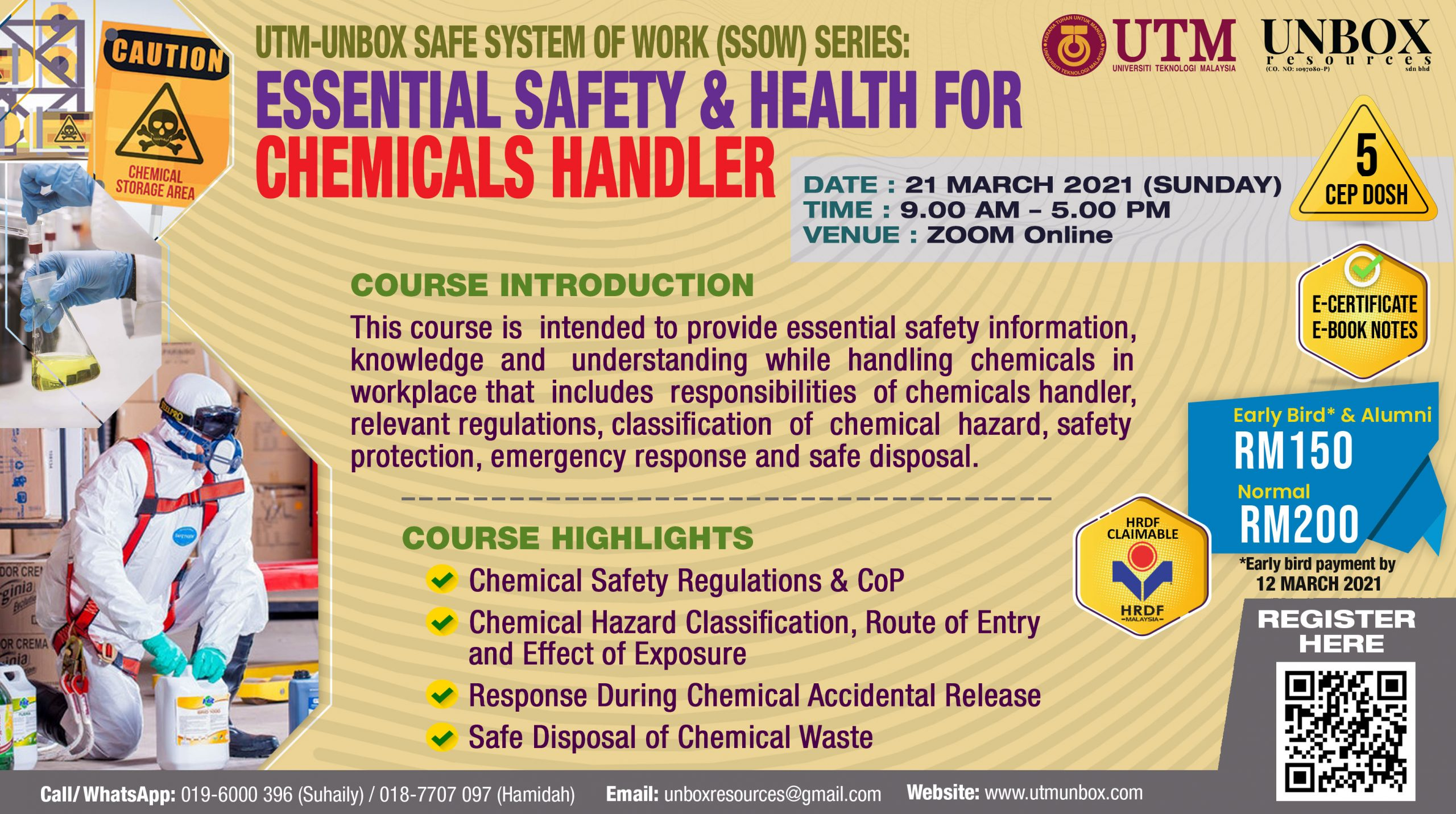 UPCOMING ONLINE CEP COURSE: ESSENTIAL SAFETY AND HEALTH FOR CHEMICAL HANDLER TRAINING (21 MARCH 2021, ZOOM ONLINE)