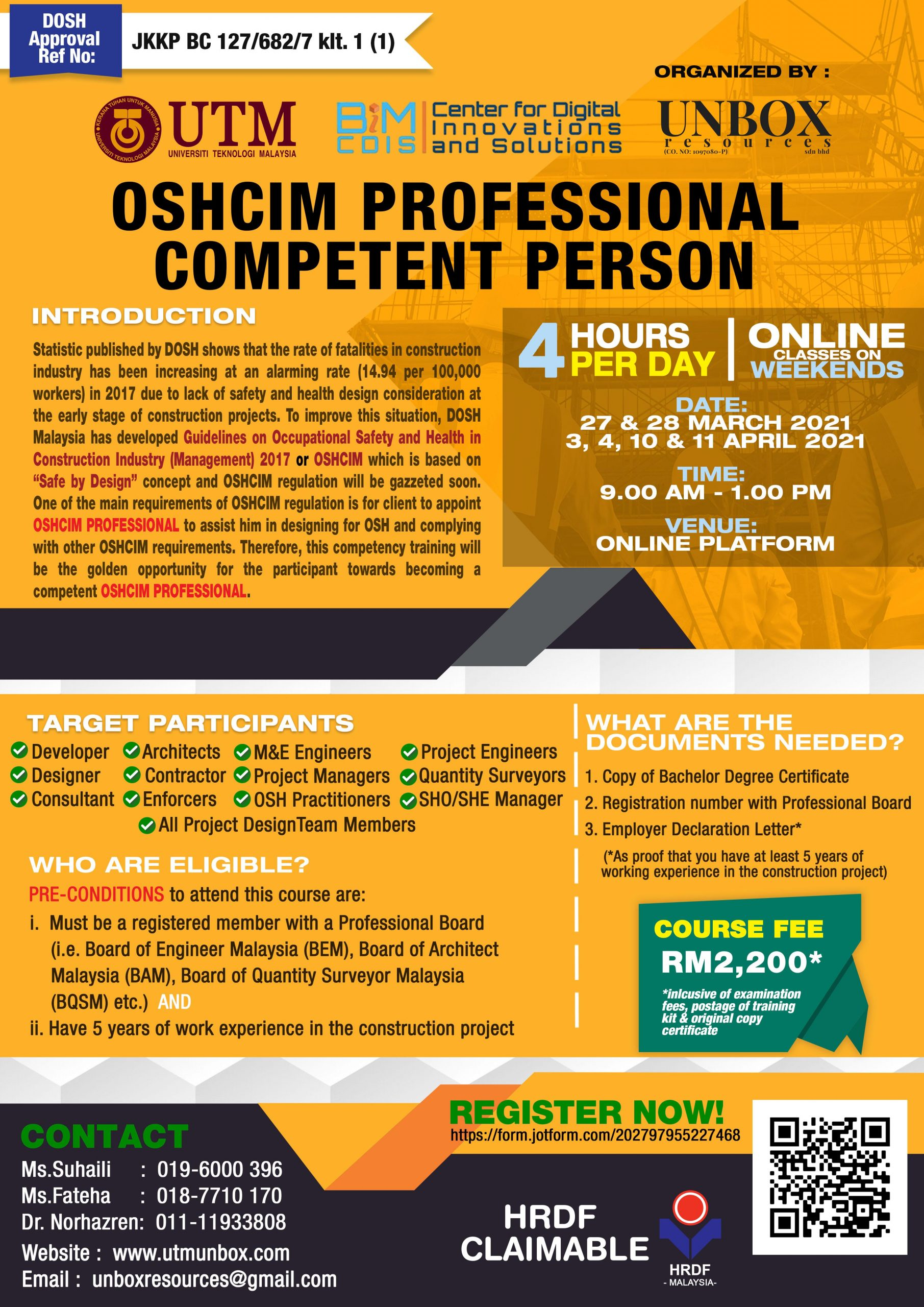 OSHCIM PROFESSIONAL COMPETENT PERSON (27 & 28 MARCH 2021) (3,4,10 & 11 APRIL 2021) (ZOOM ONLINE)