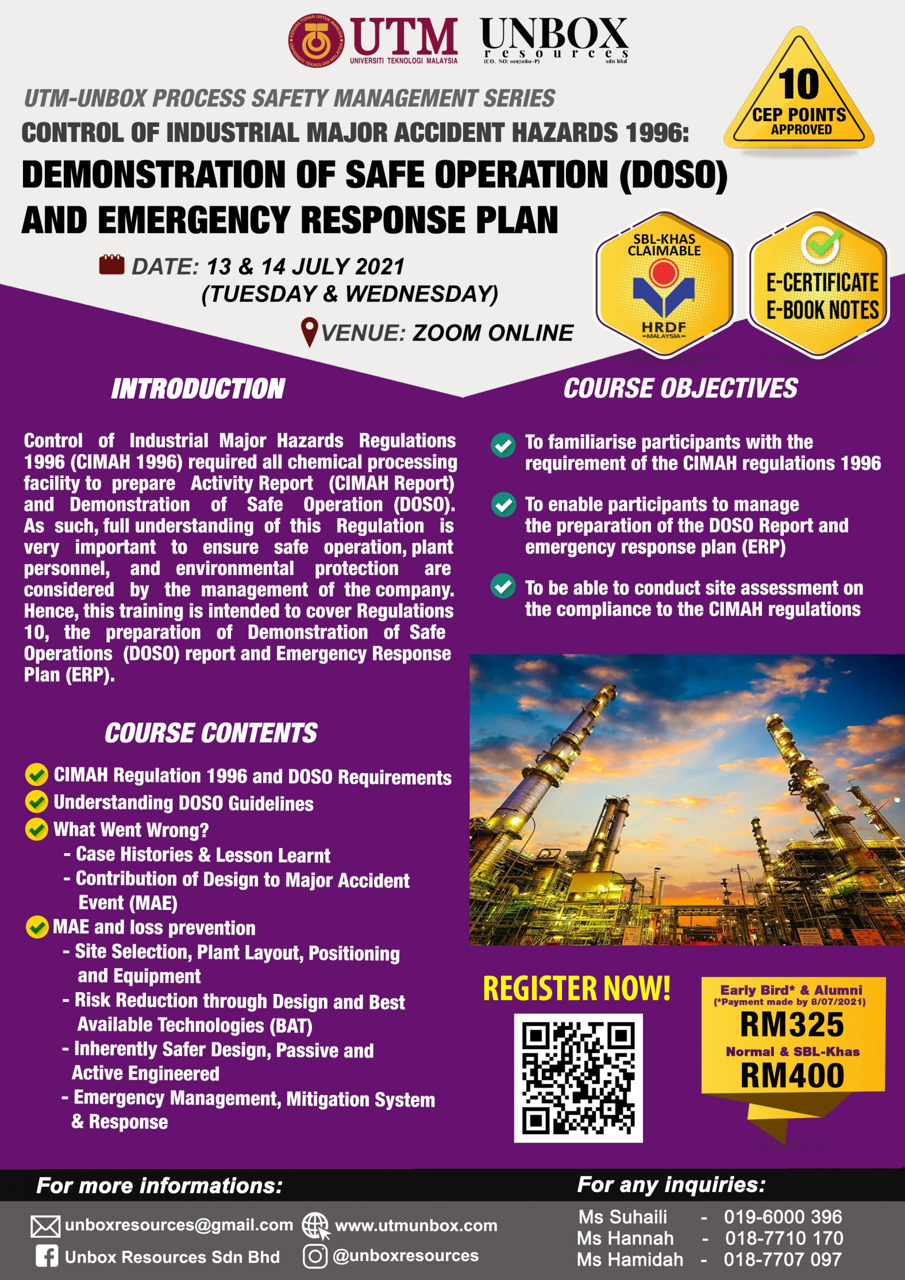 Control of Industrial Major Accident Hazards 1996: DEMONSTRATION OF SAFE OPERATION (DOSO) AND EMERGENCY RESPONSE PLAN