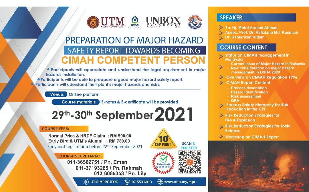 PREPARATION OF MAJOR HAZARD SAFETY REPORT TOWARDS BECOMING CIMAH COMPETENT PERSON